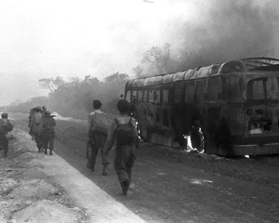 Ernesto Fernández Nogueras - bus blasted by aircraft fire, Playa Girón, Bay of Pigs