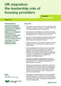 UK migration: the leadership role of housing providers