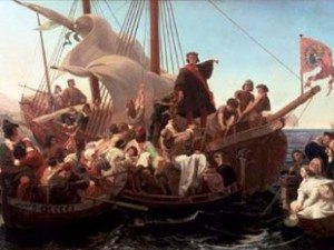 Christopher Columbus 'discovers' the Americas