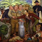 The mural 'Gloriosa Victoria' by Diego Rivera, depicting Eisenhower (the face on the bomb), Castillo de Armas (shaking the hand of Foster Dulles, dressed as a pilot) and products of the United Fruit Company (Photo: Informacionlibre2000)