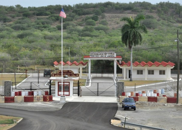 Guantanamo Naval Base gate.  Photo: Bil Mesta