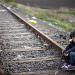 A child refugee in Riszke, near the border between Serbia and Hungary. 'Britain cannot be forced to take refugees from other countries.' Photograph: Matthias Schrader/AP