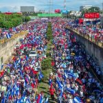 Sandinista Nicaraguans march for Peace and Justice for their dead, wounded, and disappeared. Managua, September 8, 2018.