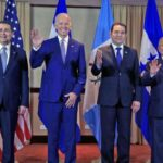 From left to right: President JOH of Honduras, U.S. Vice President Biden, President Morales of Guatemala, and President Sánchez Cerén of El Salvador in a 2016 meeting.